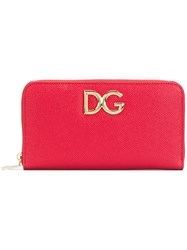 Dolce And Gabbana Logo Zip Around Wallet Calf Leather Red