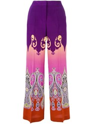 Etro Marrakesh Print Wide Leg Pants Pink Purple