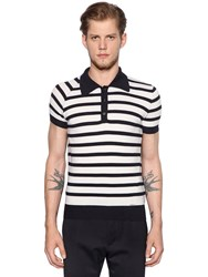 Dsquared Striped Wool Knitted Polo Shirt