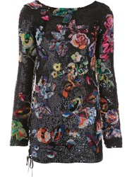 Anthony Vaccarello 'Flower Sequin' Dress Blue