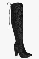 Boohoo Velvet Pointed Toe Over The Knee Boot Black