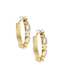 Rj Graziano R.J. Graziano Rhinestone Station Hoop Earrings Golden