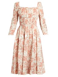 Brock Collection Dorothy Square Neck Floral Print Cotton Dress Pink Multi