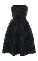 Saloni Anina Clipped Jacquard Dress Blue Black Green