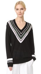 Victoria Beckham Oversized V Neck Sweater Black Multi