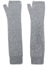 Barrie Fingerless Long Gloves Cashmere Grey