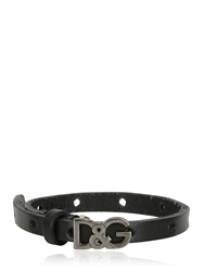 Dolce And Gabbana Metal Logo Leather Bracelet Black