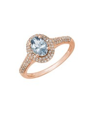 Lord And Taylor Aquamarine Diamond And 14K Rose Gold Ring