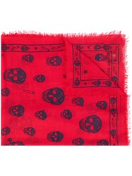 Alexander Mcqueen Skull And Paper Clip Scarf Men Silk Modal One Size Red
