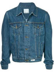 Ground Zero Curve Cut Sleeve Denim Jacket Blue