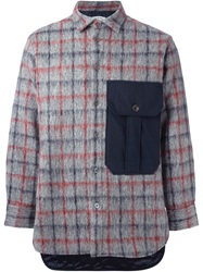 Iceberg Checked Shirt Jacket Grey