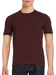 The Kooples Pocketed Ribbed Shirt Burgundy