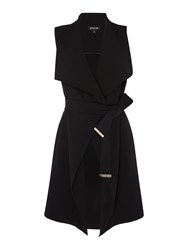 Episode Sleeveless Longline Jacket With Belt Black