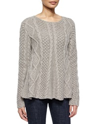 Co Cable Knit Long Sleeve Cashmere Sweater
