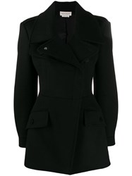 Alexander Mcqueen Fitted Double Breasted Coat Black