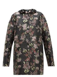Giambattista Valli Beaded Single Breasted Floral Jacquard Coat Black Multi