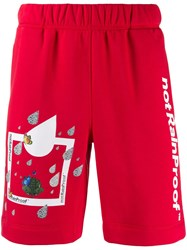Styland Printed Jersey Shorts Red