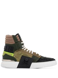 Philipp Plein Crystal Hi Top Sneakers Green