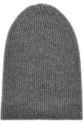 Helmut Lang Ribbed Knit Wool Blend Beanie Gray