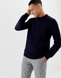 Ted Baker Cable Knit Jumper With Shoulder Patch Detail Navy