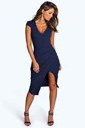 Boohoo Cap Sleeve Wrap Midi Dress Navy