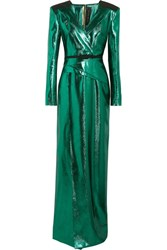 Roland Mouret Wrap Effect Lame Gown Emerald