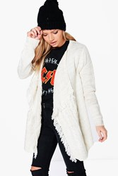 Boohoo Waterfall Cable Fringed Cardigan Ecru