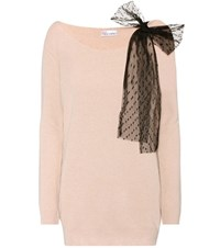 Red Valentino Wool Angora And Cashmere Blend Sweater Pink