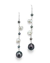 Bloomingdale's Black Cultured Freshwater Pearl And White Keshi Pearl Drop Earrings In 14K White Gold