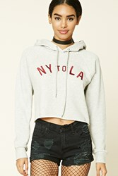 Forever 21 Ny To La Graphic Hoodie Heather Grey Red