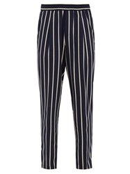 The Gigi King Striped Cropped Trousers Navy Multi