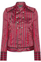 Ann Demeulemeester Double Breasted Striped Satin Twill Jacket Red