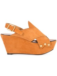 Chloe Mischa Wedge Sandals Yellow Orange