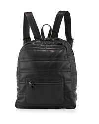 Neiman Marcus Classic Quilted Faux Leather Backpack Black