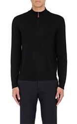 Piattelli Men's Merino Wool Mock Turtleneck Sweater Black