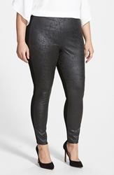 Lysse Distressed Faux Leather And Ponte Knit Leggings Plus Size Black