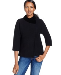 Jm Collection Petite Velvet Trim Crossover Coat Only At Macy's