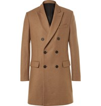 Ami Alexandre Mattiussi Slim Fit Double Breasted Wool Blend Coat Camel
