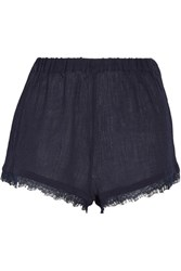 Skin Lace Trimmed Crinkled Cotton Gauze Pajama Shorts Midnight Blue