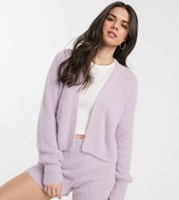 Micha Lounge Cropped Cardi In Fluffy Knit Co Ord Purple