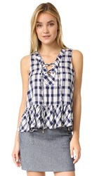 Maven West Bailey Lace Up Peplum Navy Plaid