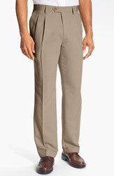 Men's Big And Tall Cutter And Buck Double Pleated Microfiber Pants Khaki