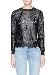 Alice Olivia 'Jesse' Faux Leather Floral Patch Lace Panelled Sweatshirt Black