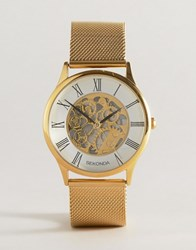 Sekonda Gold Mesh Exposed Mechanics Watch Exclusive To Asos Gold