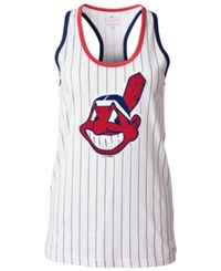 5Th And Ocean Women's Cleveland Indians Pinstripe Glitter Tank Top White