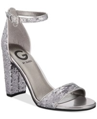 G By Guess Shantel Two Piece Sandals Women's Shoes Silver Sequin