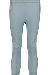 Theory Cropped Stretch Knit Leggings Blue