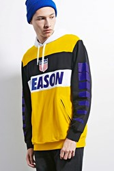 Forever 21 Reason Colorblock Hoodie Black Yellow
