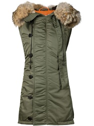 3.1 Phillip Lim Fur Hooded Flight Vest Green
