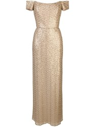Amsale Off The Shoulder Gown Gold